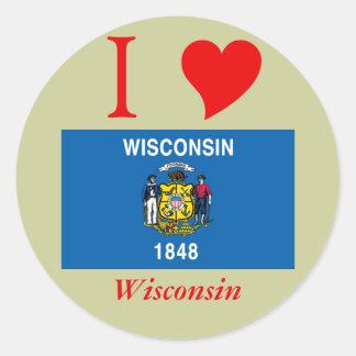 Bandera del estado de Wisconsin Pegatina Redonda