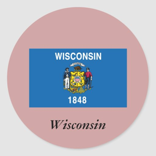 Bandera del estado de Wisconsin Pegatinas Redondas