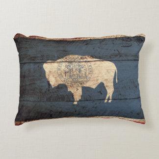 Bandera del estado de Wyoming en grano de madera