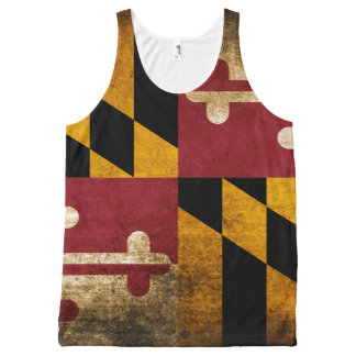Bandera del estado del Grunge de Maryland Camiseta De Tirantes Con Estampado Integral