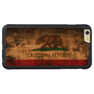 Bandera del estado del Grunge del vintage de la Funda De Cerezo Bumper Carved® Para iPhone 6 Plus