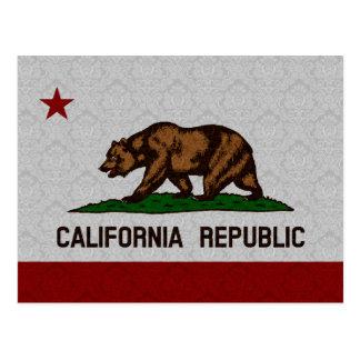 Bandera del estado del modelo del damasco de la postal