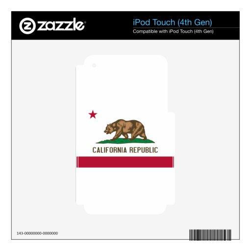Bandera del estado del oso de la república de Cali Calcomanías Para iPod Touch 4G