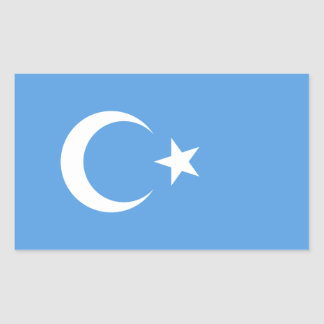 Bandera del este de CUATRO Turkestan Uyghur Pegatina Rectangular