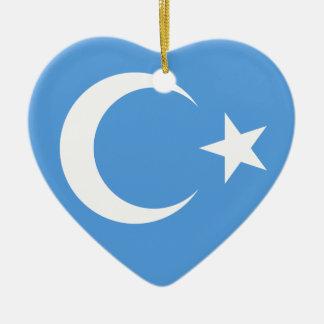 Bandera del este de Turkestan Uyghur Adorno Navideño De Cerámica En Forma De Corazón