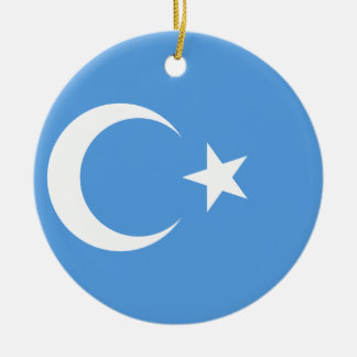 Bandera del este de Turkestan Uyghur Adorno Navideño Redondo De Cerámica