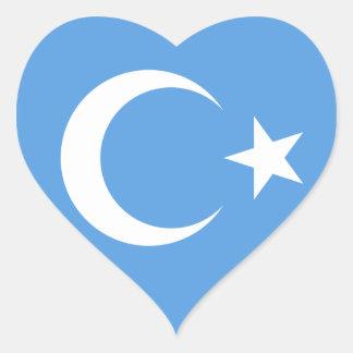 Bandera del este de Turkestan Uyghur Pegatina En Forma De Corazón