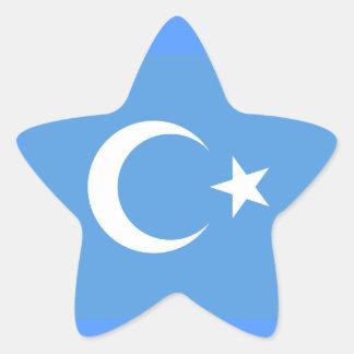 Bandera del este de Turkestan Uyghur Pegatina En Forma De Estrella