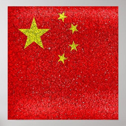 Bandera del estilo del Grunge de China Póster