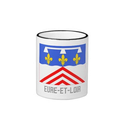 Bandera del Eure-et-Loir con nombre Tazas De Café