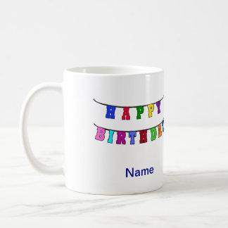 Bandera del feliz cumpleaños - personalizada tazas
