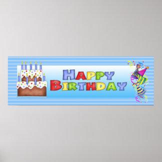 Bandera del feliz cumpleaños póster