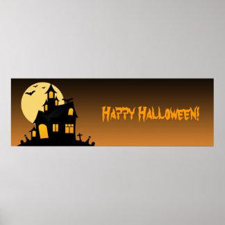 Bandera del fiesta de Halloween de la casa Posters