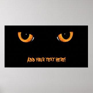Bandera del fiesta de Halloween del gato negro Poster