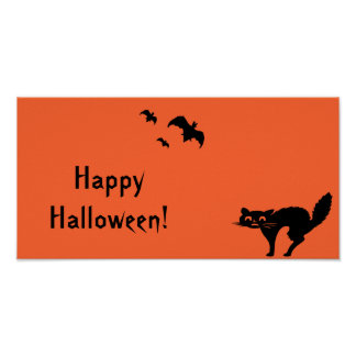 Bandera del fiesta de Halloween del naranja y del  Póster