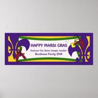 Bandera del fiesta de los cangrejos de la flor de  posters