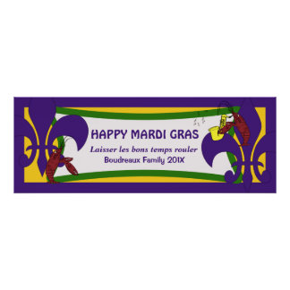 Bandera del fiesta de los cangrejos de la flor de  póster