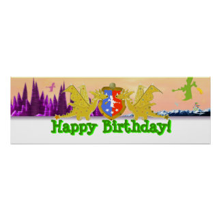 Bandera del fiesta del dragón del feliz cumpleaños poster