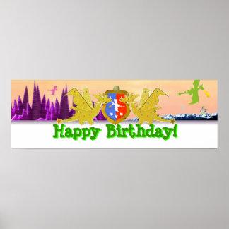 Bandera del fiesta del dragón del feliz cumpleaños póster
