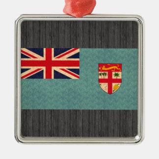 Bandera del Fijian del modelo del vintage Adorno Cuadrado Plateado
