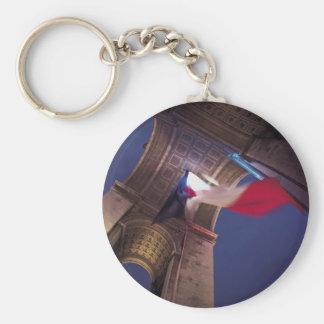 Bandera del francés de Arco del Triunfo Llavero Redondo Tipo Pin