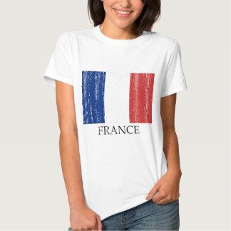 Bandera del francés del vintage remeras