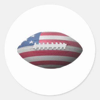 Bandera del fútbol americano etiqueta redonda