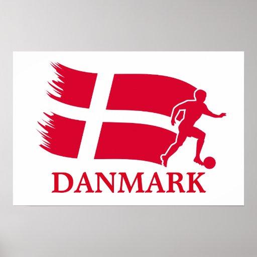 Bandera del fútbol de Dinamarca Posters