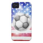 Bandera del fútbol de los E.E.U.U. Case-Mate iPhone 4 Protector