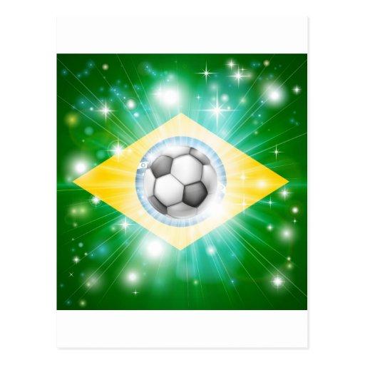 Bandera del fútbol del Brasil Postal