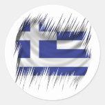 Bandera del Griego de las trituradoras Pegatina Redonda