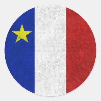 Bandera del Grunge apenado Acadia Pegatina Redonda