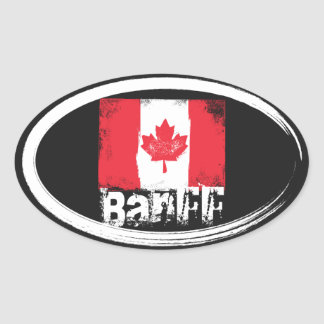 Bandera del Grunge de Banff Pegatina Ovalada