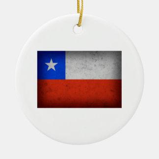 Bandera del Grunge de Chile Adorno Redondo De Cerámica