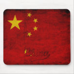Bandera del Grunge de China Tapete De Raton