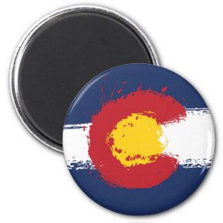 Bandera del Grunge de Colorado Imán Redondo 5 Cm