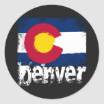 Bandera del Grunge de Denver Pegatina Redonda