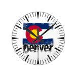 Bandera del Grunge de Denver Relojes De Pared