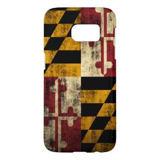 Bandera del Grunge de Maryland Fundas Samsung Galaxy S7