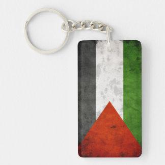 Bandera del Grunge de Palestina Llavero Rectangular Acrílico A Una Cara