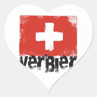 Bandera del Grunge de Verbier Pegatina En Forma De Corazón