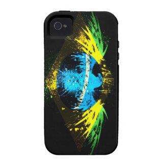 Bandera del Grunge del Brasil iPhone 4 Carcasas