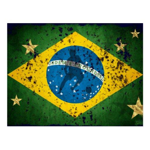 Bandera del Grunge del Brasil para los brasilen@os Postales
