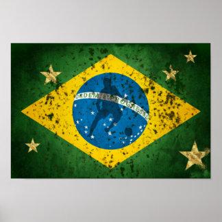 Bandera del Grunge del Brasil para los deportes de Impresiones