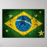 Bandera del Grunge del Brasil para los deportes Póster