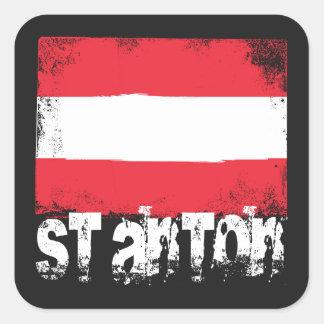 Bandera del Grunge del St Antón Pegatina Cuadrada
