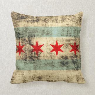 Bandera del Grunge del vintage de Chicago Cojines