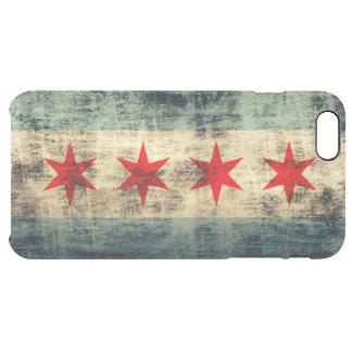 Bandera del Grunge del vintage de Chicago Funda Clear Para iPhone 6 Plus