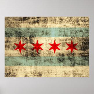 Bandera del Grunge del vintage de Chicago Póster