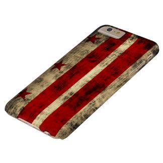 Bandera del Grunge del vintage de la C.C. de Funda De iPhone 6 Plus Barely There